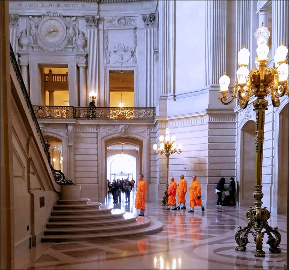 Photo of the view of a portion of the entrance of City Hall from the interior.