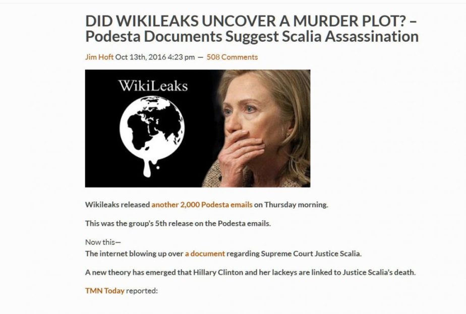 screenshot from a disinformation outlet that claims Hillary Clinton Murdered Justice Scalia
