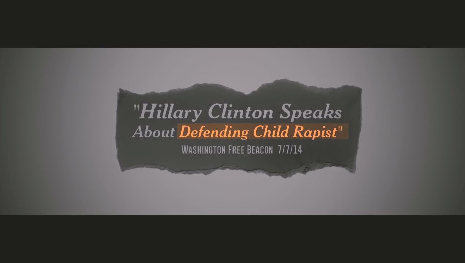 Screenshot from an attack ad against Hillary Clinton for doing her job as a public defender.