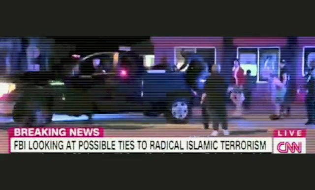 Screenshot of Footage from the Orlando Shootings used in an ad against Hillary Clinton