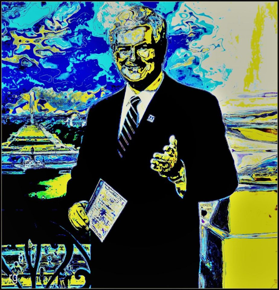 Digital painting of Newt Gingrich based on a photo in the Public Domain