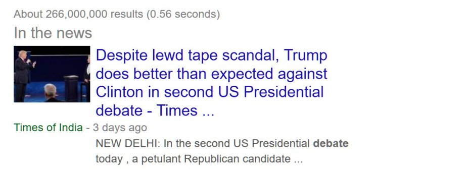 A Screenshot of the headline of the New Delhi Times which reads Despite 'Lewd' Tape Scandal, Trump does better at Second Debat