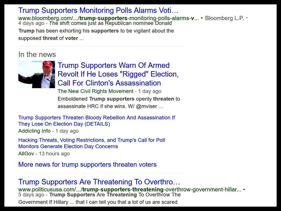 Screenshot of various news items regarding Donald Trumps call for sedition