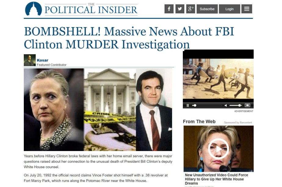 Wikileaks BOMBSHELL Reveals that Hillary Clinton Murdered Vince Foster!