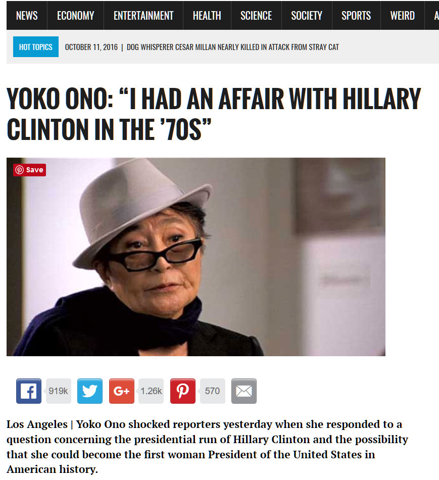 Disinformation Site claims that Wikileaks reveals that Hillary Clinton had an affair with Yoko Ono