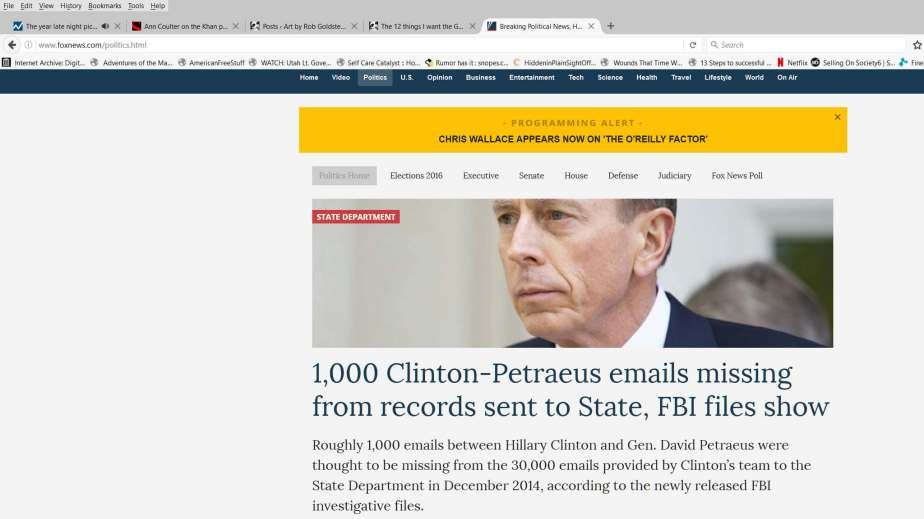 Screenshot of October 21, 2016 headline about Hillary Clinton's Email