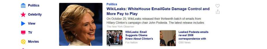 screenshot from Yahoo headline about Hillary's email gate scandal