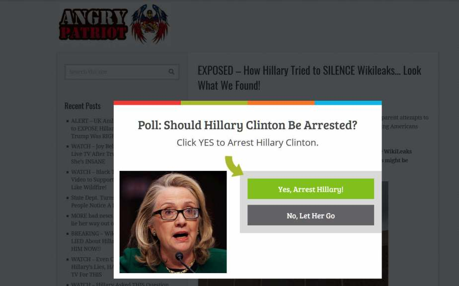 Screenshot of an online poll asking if Hillary Clinton should be arrested