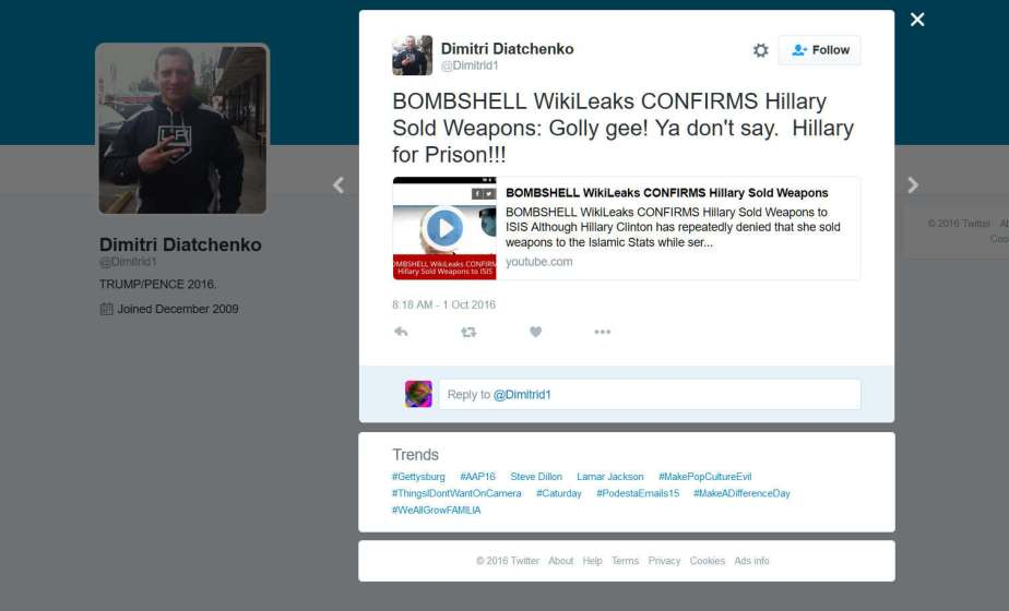 Twitter Screenshot of wikileak headline claiming Hillary sold weapons