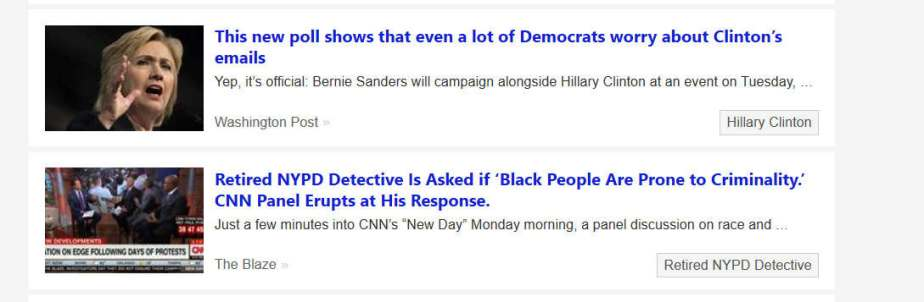 screen shot from yahoo news reporting on Clinton's email