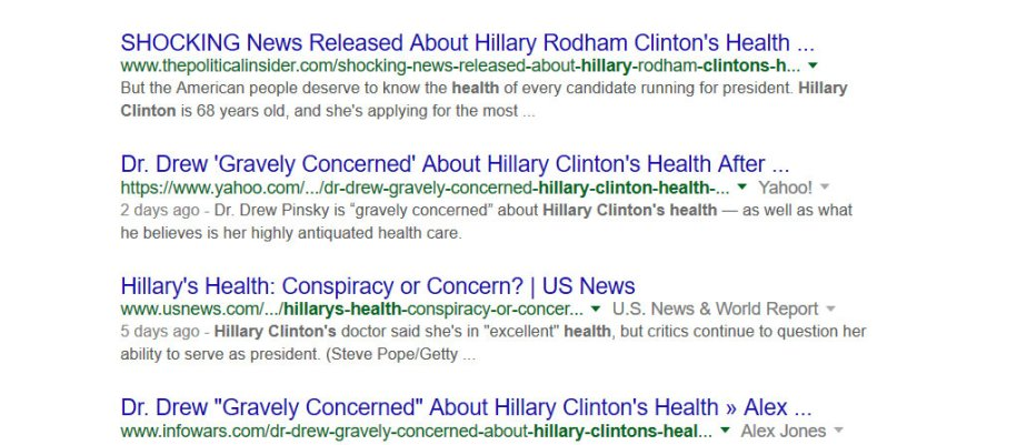 screenshot of google results regarding Clinton's Health