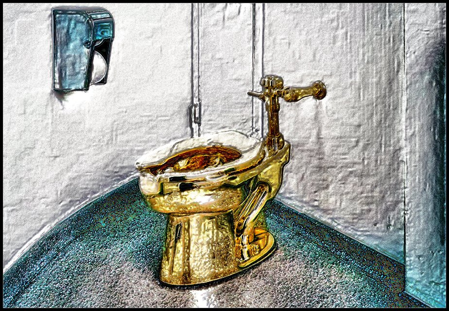 A photoshopped image of a gold toilet