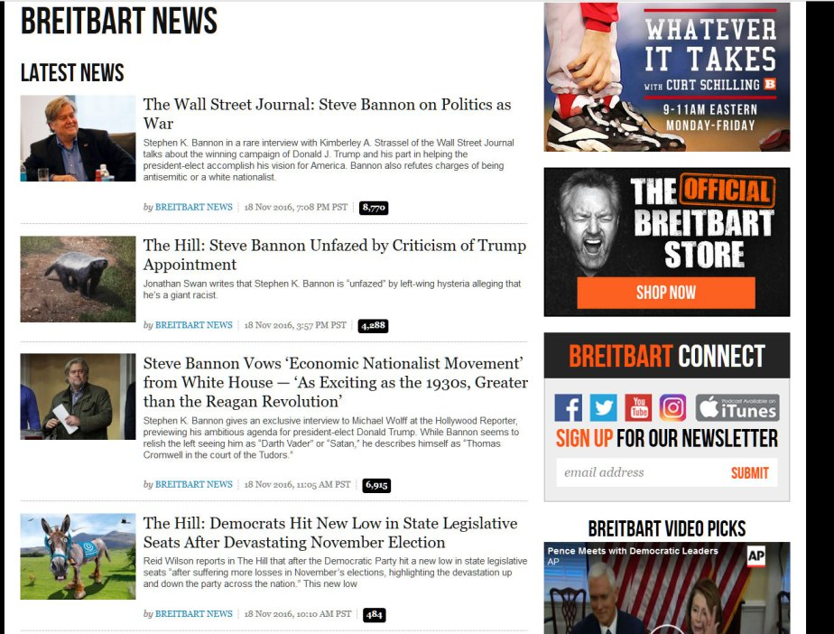 Screenshots of The headlines on Brietbart News