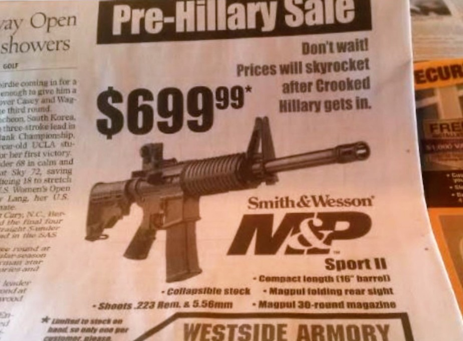 photograoh of a gun store 'pre-hillary' sale