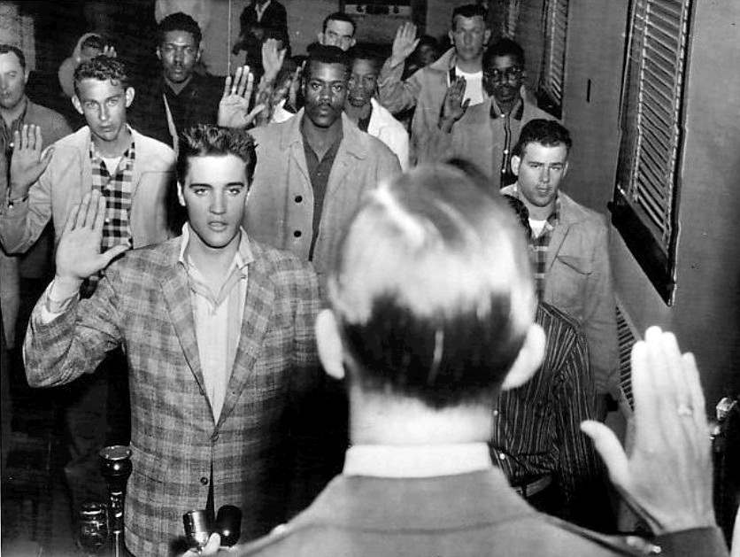 Black and White AP photograph of Elvis Presley being sworn into the army