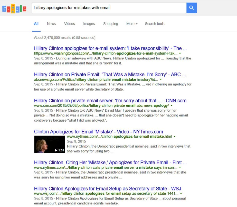 Screenshot of Google results for Hillary apologizes.