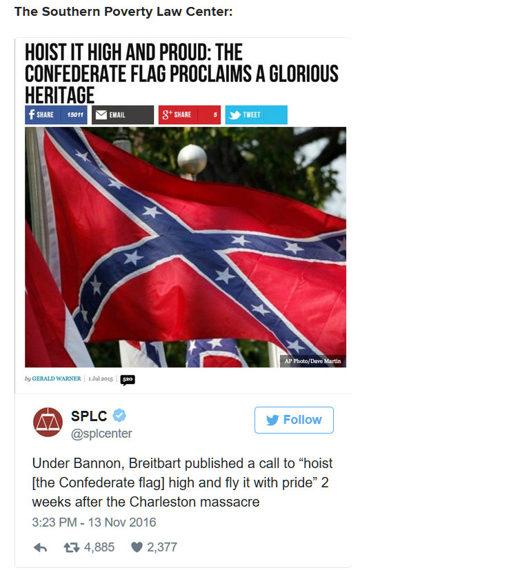 Screenshot of a Brietbart News articfle about the confederate flag called hoist it high and proud