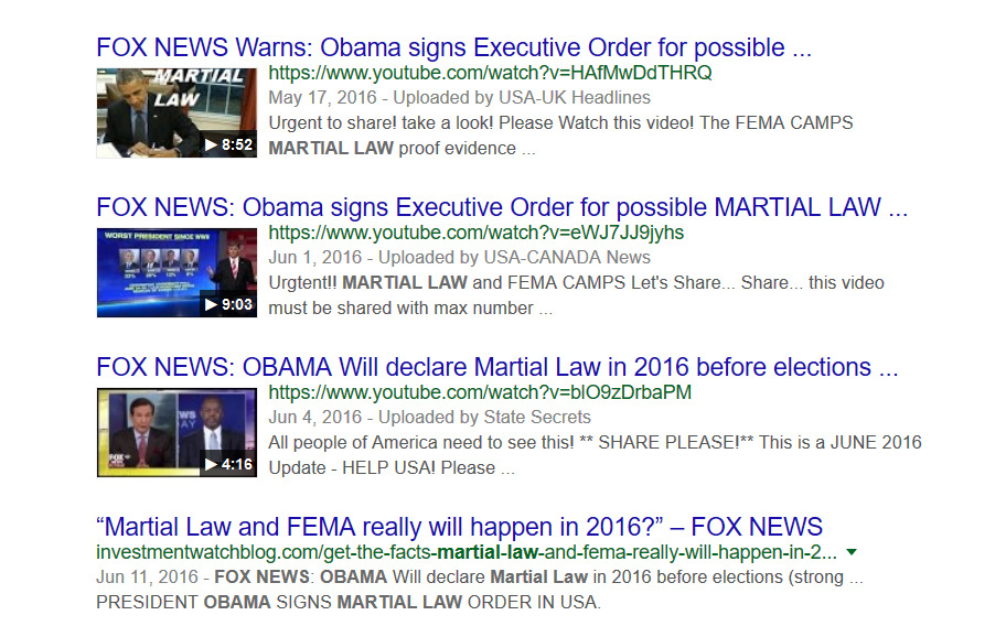 Screenshot of fox news reports that Obama would sign martial law before election