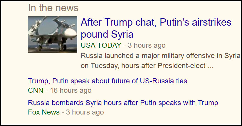 Screenshot of a November 15 headline stating that after trump chat Putin bombs Syria