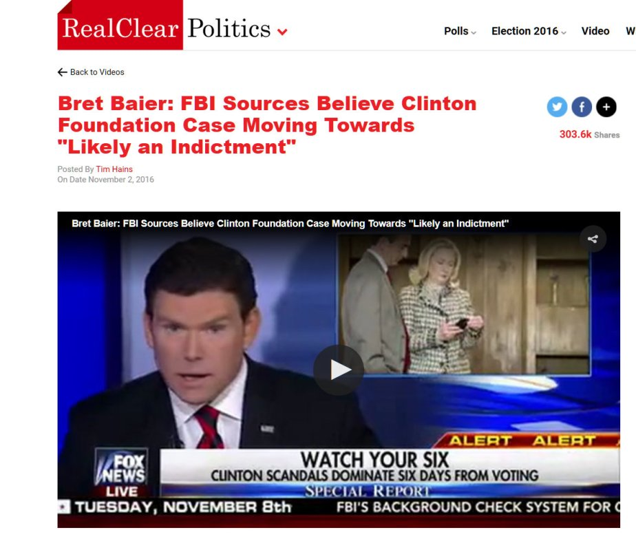 Screenshot November 2nd, Fox Reporter Announces that Clinton will be Indicted