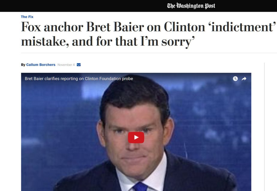 Screenshot of November 4th, Fox News Host apologizes for false indictment story