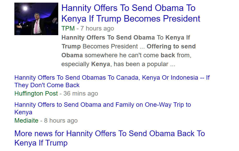 Screenshot of October 25th Hannity offers to send Obama back to Kenya