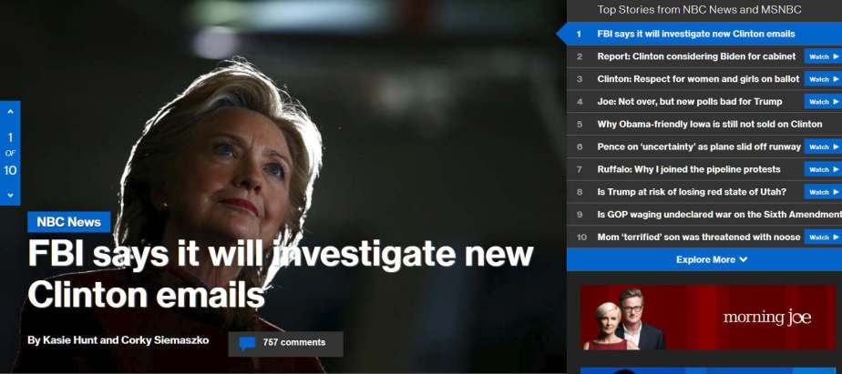 Screenshot October 28 MSNBC Headline