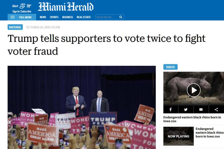 Screenshot Trump tells supporters to vote twice