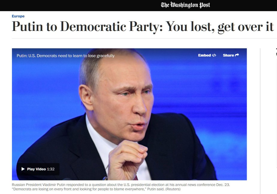 A screenshot of Russian Premier Vladimir Putin telling Democrats to lose gracefully
