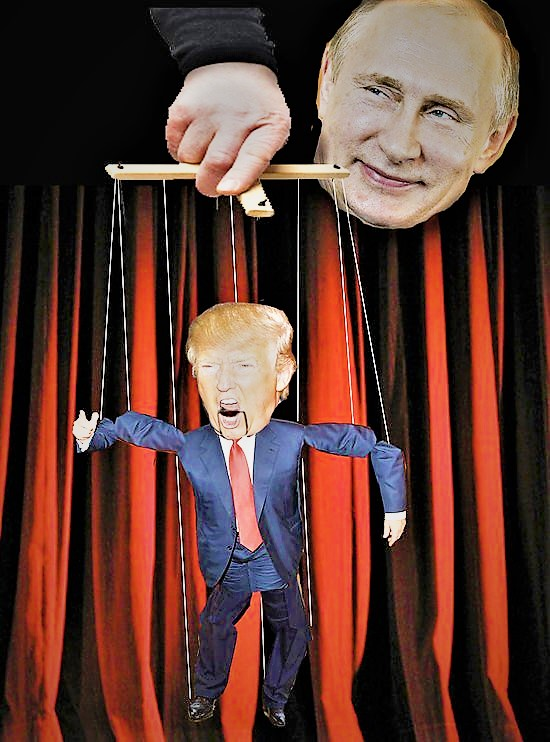 A graphic showing Vladimir Putin as a puppet master and Donald Trump as his puppet.