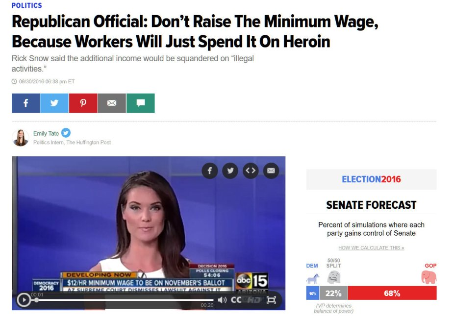 Screenshot of a report about a GOP congreessman who says that people on minumum wage will spend their money on drugs