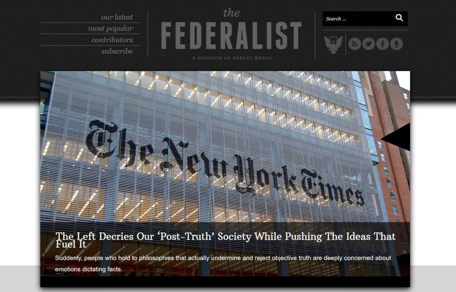 Screenshot of the federalist accusing the New York Times of being disinformation