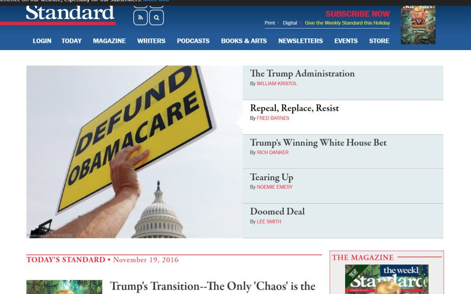 Screenshot from the Weekly Standard that reads defund Obamacare