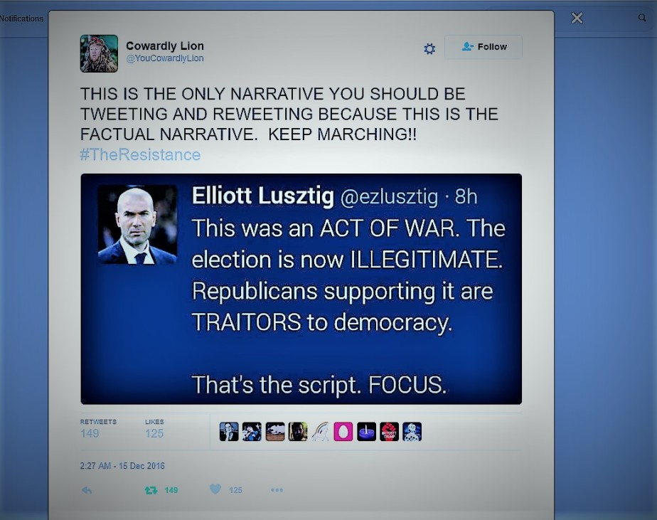 screenshot of a tweet from elliott lusztig that calls Russian hacking an act of war