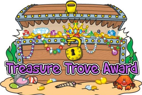 Graphic of a treasure chest with the words treasure trove award written on it