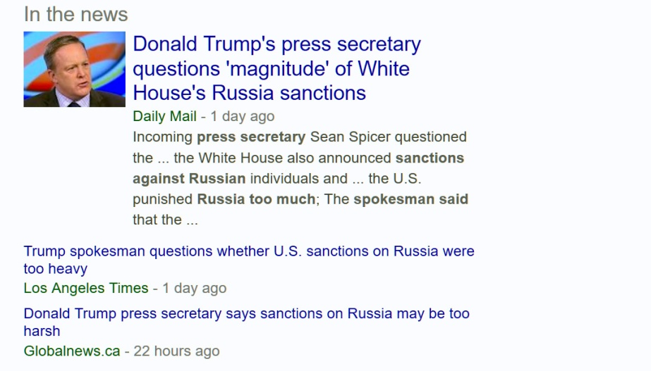 Screenshot of Trump's Press Secretary saying that Obama's sanctions against Russia are excessive