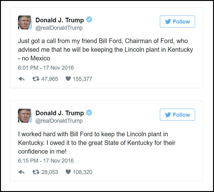 Trump's Tweet in which he claims he worked hard to Keep the Ford Plant in the States.