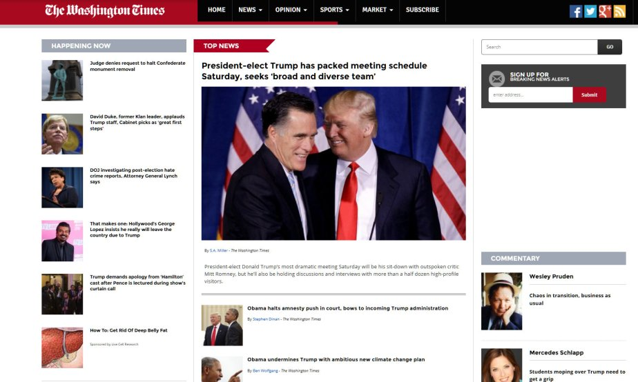 Screenshot of November 19 headlines in disinformation media site, The Washington Times