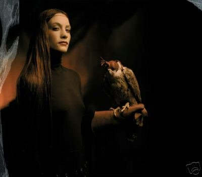 Image of a woman and a hawk
