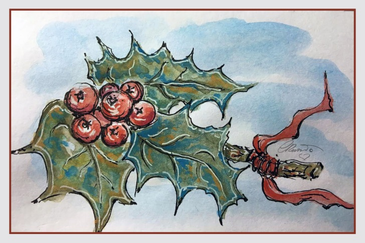 HOLLY Day 16 - Original Watercolor ©Carolina Russo