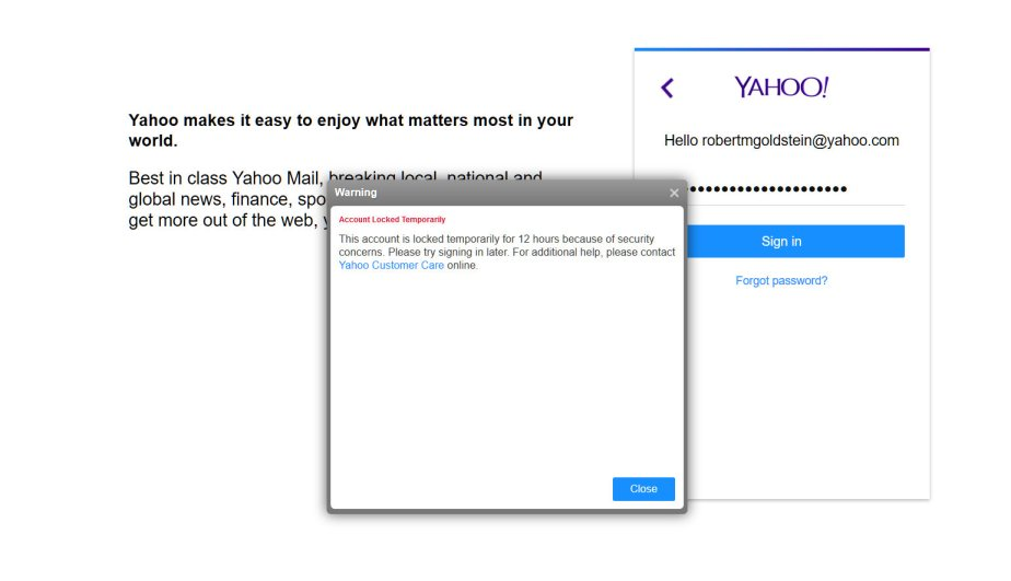 Screen shot of Yahoo error message