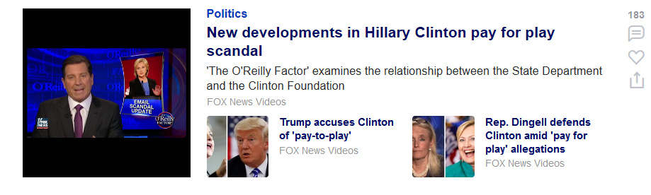 screenshot of Fox News Promoting fake news