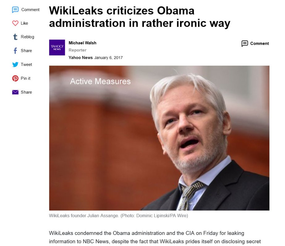 screenshot of Russian propagandist, Julian Assange, from a news report in which he critisises Presidernt Obama