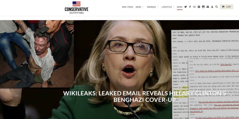 A screenshot of a fake news outlet's claim that Wikileaks revealed information about Benghazi