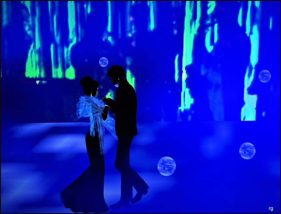 An illustration made in Virtual Reality that depicts a male and a female avatar in formal attire dancing in a nighclub