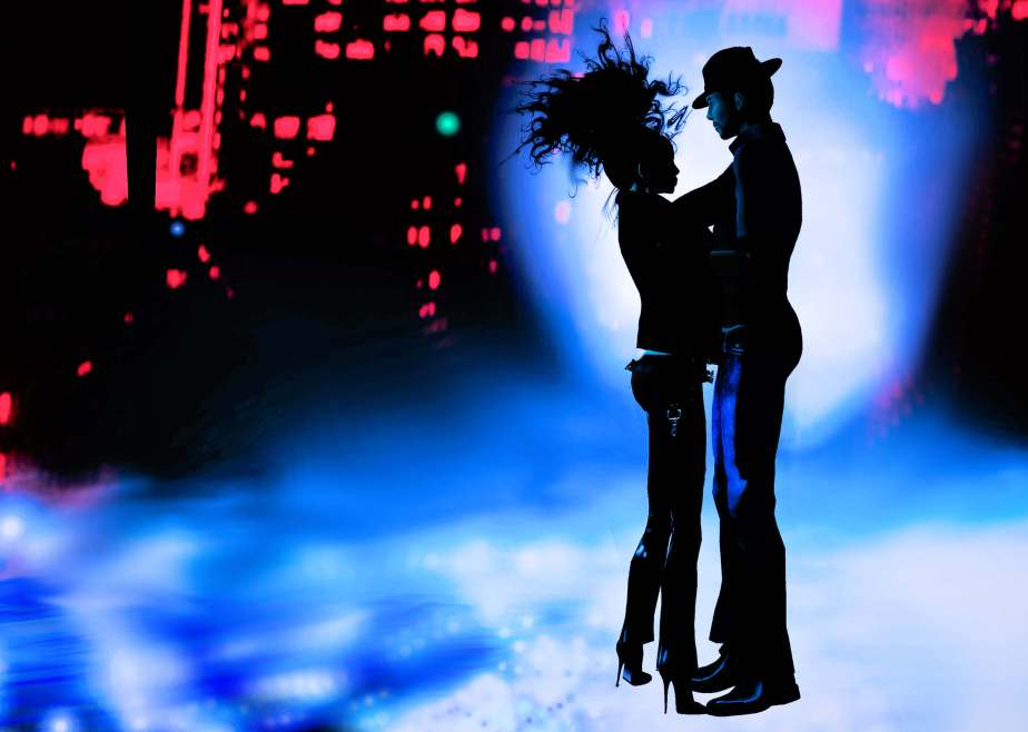An illustration made in Virtual Reality that depicts a male and a female avatar in casual attire dancing in a nighclub