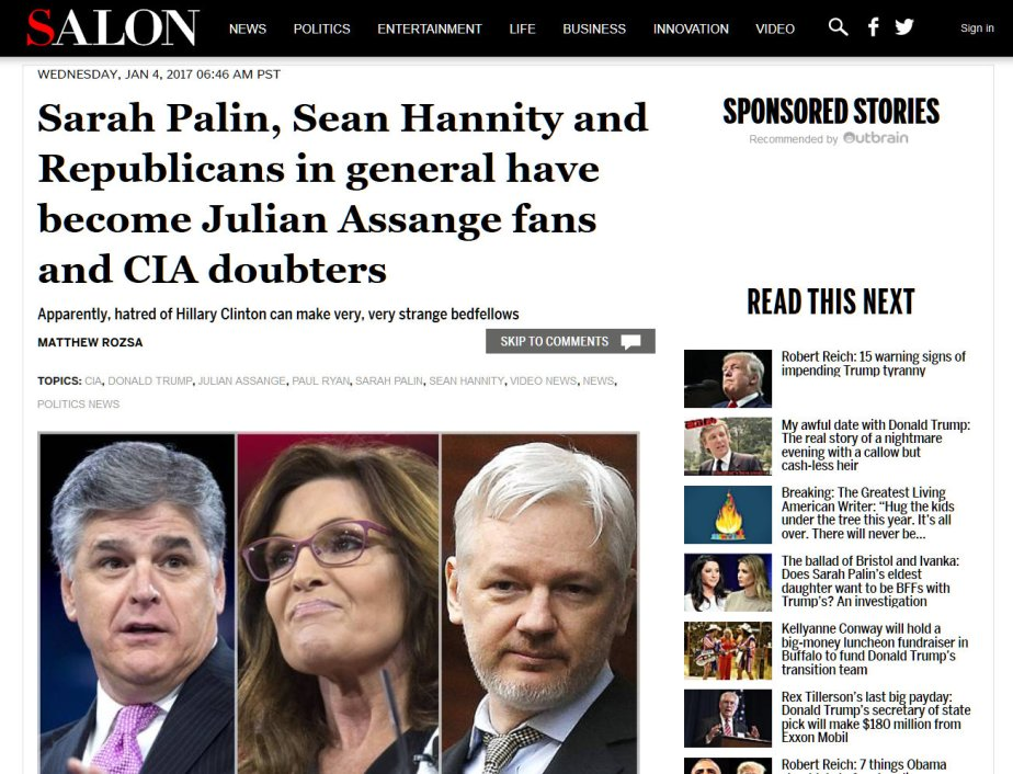 Screnshot of Sara Palin, Sean Hannity and Julian Assange as they work to discredit their government