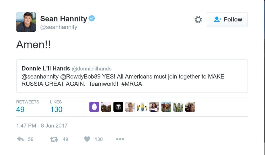 Tweet from Sean Hannity saying Amen to Make Russia Great Again
