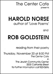 A scan of the slyer and announcement for a 1986 joint reading of Harold Norse and Rob Goldstein