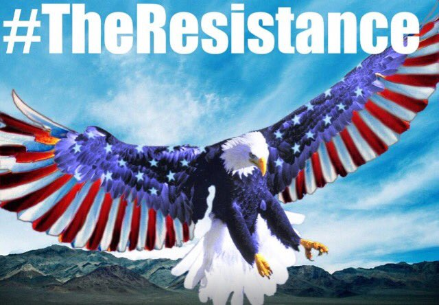 Image of an American Eagle with wings the color of the American Flag and the caption #TheResistance